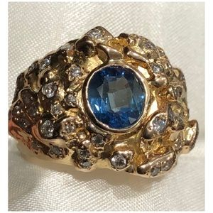 Other - 18KT Yellow Gold Blue Sapphire Diamond Men's Ring
